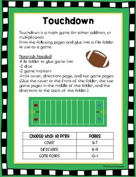 Touchdown: A Math Game (Addition & Multiplication)