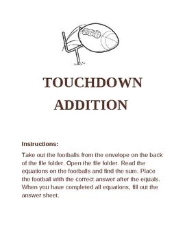 Touchdown Addition- File folder game