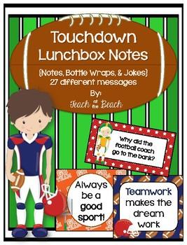 Touchdown!  Football Lunchbox Notes & Bottle Wraps