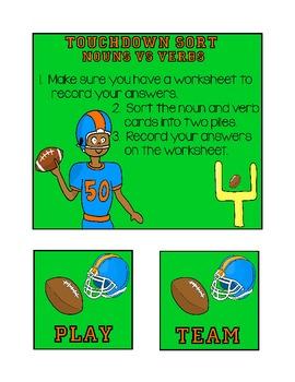Touchdown Sort: Nouns vs Verbs (Football Theme)
