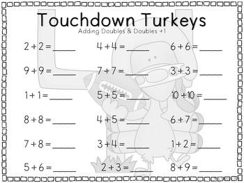 Touchdown Turkeys {A Free Math Center}