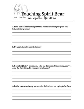 Touching Spirit Bear Anticipation Guide