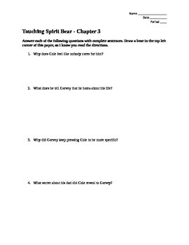 Touching Spirit Bear: Chapter 3, 4, and 5 Questions