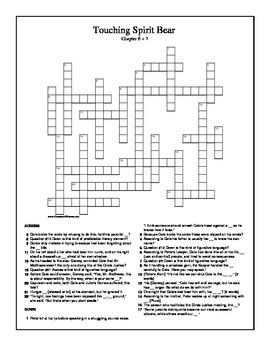 Touching Spirit Bear Chapter 3-5 Crossword Puzzle