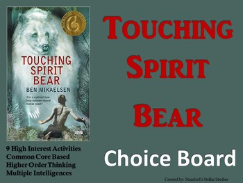 Touching Spirit Bear Choice Board Novel Study Activities Menu Book Project