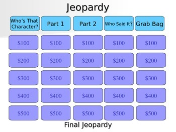 Touching Spirit Bear Jeopardy Review