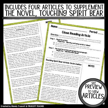 Touching Spirit Bear: Nonfiction Articles to Supplement the Novel