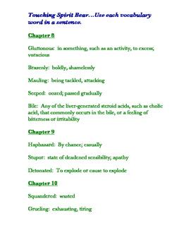 Touching Spirit Bear Vocabulary