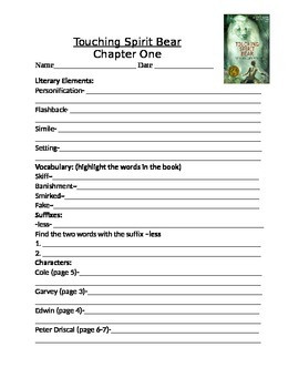 Touching Spirt Bear Comprehension Questions and Literary Elements-Complete Novel