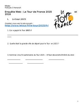 AP French, French 4 Research Project: Tour de France Web Quest