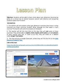 Latin America Tour on Google Tour Builder / Lesson Plan + WebQuest
