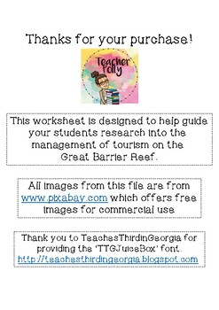 Tourism on the Great Barrier Reef Inquiry Worksheet