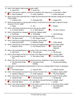 Tourist Attractions Around The World Multiple Choice Exam