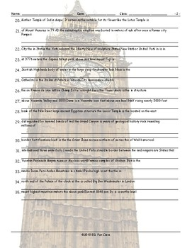 Tourist Attractions Around The World Scrambled Sentences Worksheet