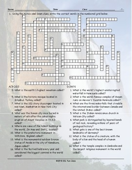 Tourist Attractions Around The World Word Crossword Puzzle