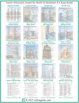 Tourist Attractions Around the World 16 Worksheet- 4 Exam Bundle