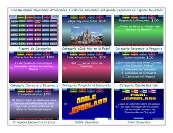 Tourist Attractions Around the World Spanish Jeopardy Game