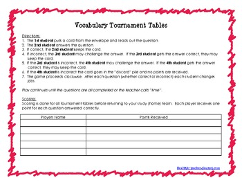 Tournament Game Table Student Directions {FREEBIE}