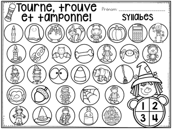 Tourne, trouve et tamponne! L'Halloween (FRENCH Halloween Dab It activities)