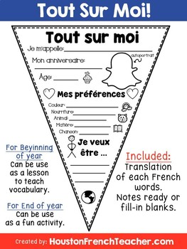 Tout sur moi (All About Me in French)
