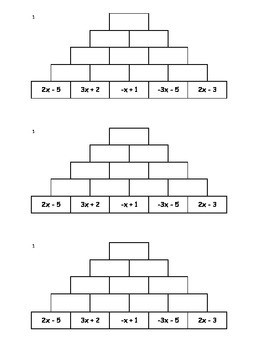 Tower Addition - Combining Like Terms 1