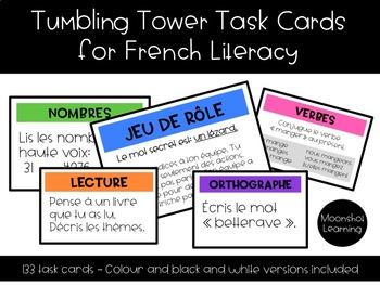 Tower Task Cards for French Literacy