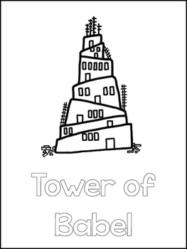 Tower of Babel Printable Color Sheets  Preschool Bible Study Curriculum