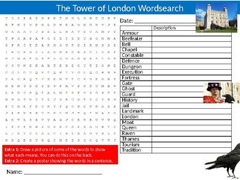 Tower of London Wordsearch Sheet Starter Activity Keywords City Geography