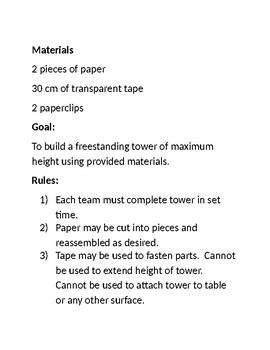 Tower of Power STEM Challenge