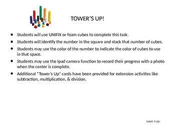 Tower's Up Math Cube Center