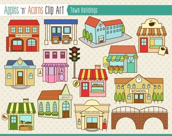 Town Buildings Clip Art - color and outlines by Apples 'n ...