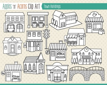Town Buildings Clip Art - color and outlines