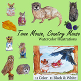 Town Mouse, Country Mouse Aesop's Fables watercolor clip art Clipart
