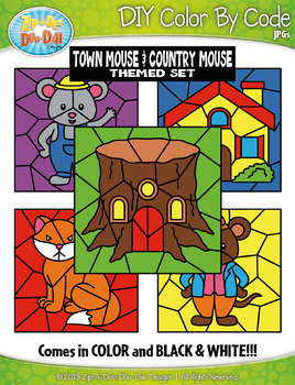 Town Mouse and Country Mouse Color By Code Clipart {Zip-A-Dee-Doo-Dah Designs}