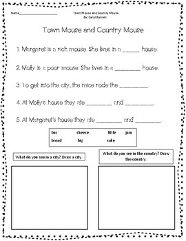 Town Mouse and Country Mouse companion worksheet