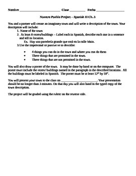 Town/Pueblo/City Project & Rubric using Places and Location Vocab Expresate Ch3