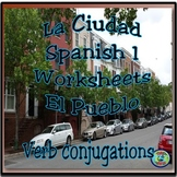 Towns and Cities; Verb Conjugation Worksheet Practice Activities