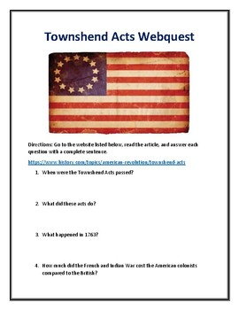 Townshend Acts Webquest (With Answer Key!)