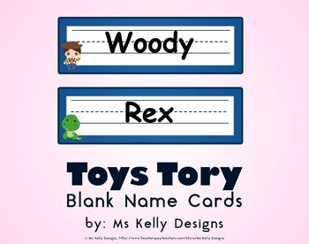 Toy Blank Name Cards Story Set