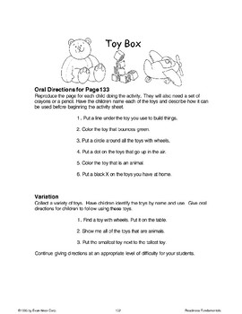 Toy Box (Listening/Following Directions)