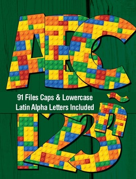Toy Bricks Alphabet - 91 Files - Latin Letters - PDF - PNGs - 300 DPI – 6.5 In.