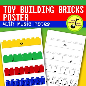 Toy Building Bricks Poster with Music Notes