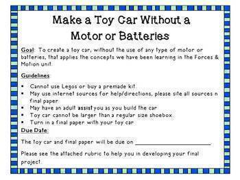 Toy Car Competition - Forces and Motion Activity
