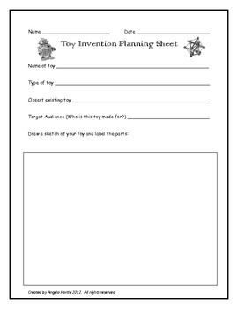 Toy Invention Activity Sheet by Angela Hartle | TpT