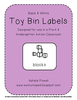 Toy Labels for Autism Classroom