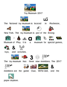 Toy Museum 2017 inductees - picture supported text lesson questions visuals