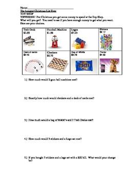 Toy Shop Menu - Adding and Estimating Money