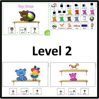 Toy Shop WHO, WHERE, WHAT? Adapted book preposition Level 1, Level 2 and Level 3