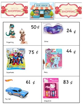 Toy Store Math Task using money