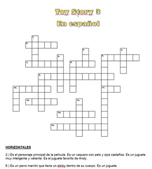 Toy Story 3 Spanish Crossword Puzzle